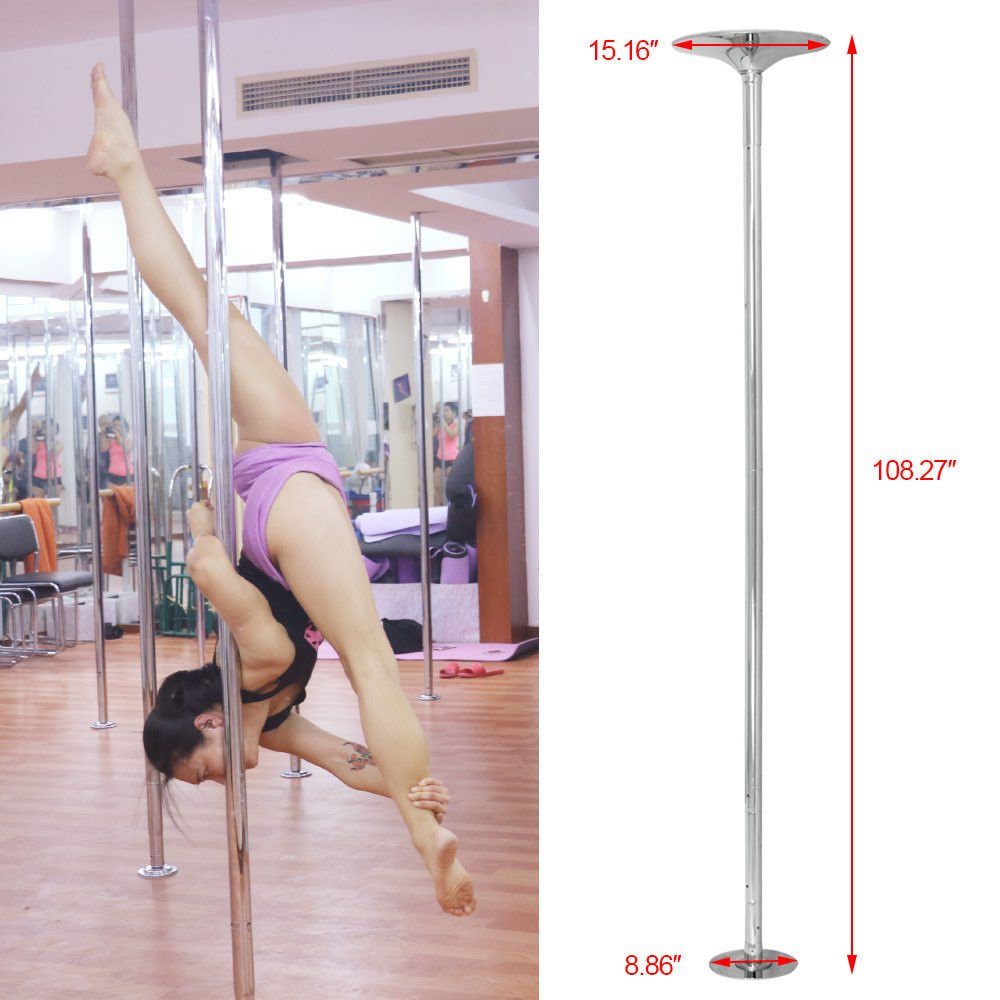 Portable Dance Pole Set   Spinning Static Universal Stripper Exercise Fitness Club Party Dancing Show   Chromed Steel by Eosphorus (Image #2)