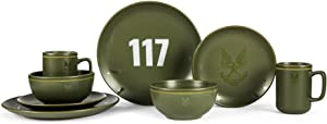 Ukonic Halo Master Chief 117 Stoneware 8-Piece Dinnerware Set | Video Game-Themed Home Kitchen Essentials | Includes Dinner and Salad Plates, Soup Bowls, Mugs | Place Setting for 2