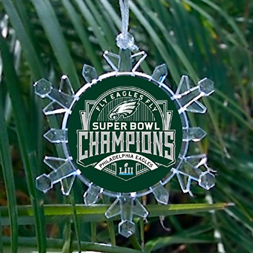 (Philadelphia Eagles Super Bowl Champions Snowflake blinking lights Holiday Christmas Tree Ornament)