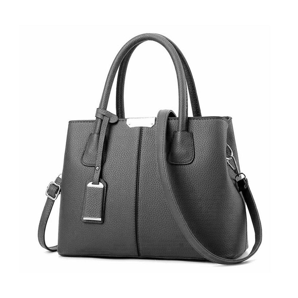 B&E Life Stylish Women Pu Leather Vertical Utility Top Handle Handbag Satchel Tote Purse Bag (Dark grey)