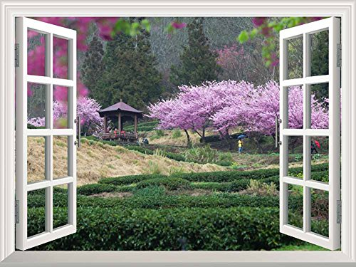 Cheap  wall26 Modern White Window Looking Out Into a Japanese Garden with Cherry..