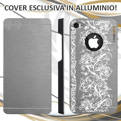 CUSTODIA COVER CASE FIORI FARFALLE RICAMO BIANCO PER IPHONE 4 ALLUMINIO TRASPARENTE