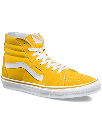 7275d0e7677b12 Vans Unisex Sk8-Hi (Suede and Canvas) Spectra Yellow and True White Leather  Sneakers - 9 UK India (43 EU)  Buy Online at Low Prices in India - Amazon.in