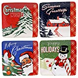 "Certified International Retro Christmas Canape Plates (Set of 4), 6"", Multicolor"