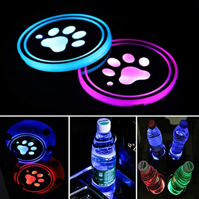 Accarparts LED Cup Holder Lights, Pet Dog Paw Logo Car Coaster with 7 Colors Changing USB Charging Mat, Luminescent Cup Pad Interior Atmosphere Lamp 2PCS: Automotive [5Bkhe0110596]