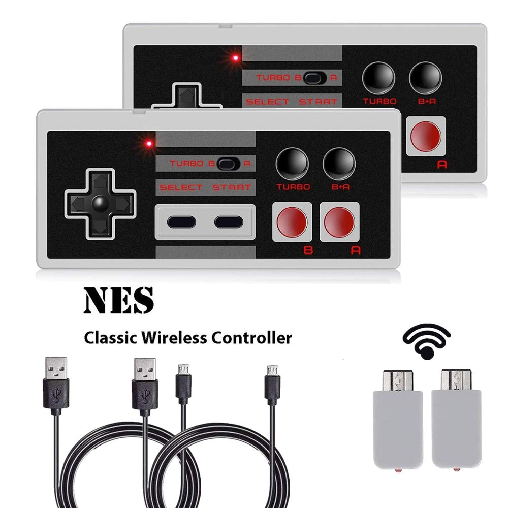 Wireless NES Classic Mini Rechargeable Controller,NES Wireless Gamepad for Nintendo Mini NES Classic Edition, Wireless Joypad & Gamepads Controller (2 Pack)