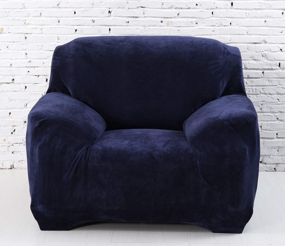 Aisaving Sofa-Überzug aus dickem SAMT, für 1 2   3 4-Sitzer, Rutschfest, elastisch, für Sofas geeignet, einfarbig, rot, 4 Seater 235-310cm(93''-118'') B07HX2DMX4 Sofa-überwürfe