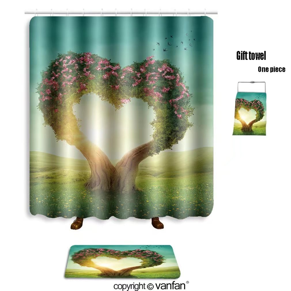 vanfan bath sets with Polyester rugs and shower curtain Heart shaped tree in the meadow_29685136 shower curtains sets bathroom 72 x 96 inches&31.5 x 19.7 inches(Free 1 towel and 12 hooks)