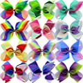 12Piece 8 Inches Grosgrain Ribbon Rainbow Hair Bows Alligator Clips For Girls Teens Kids