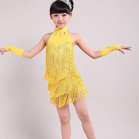 64223ff664 Amazon.com   Fedi Apparel Kids Girls Latin Salsa Dress Sleeveless Halter  Tassel Dancewear Costume   Sports   Outdoors