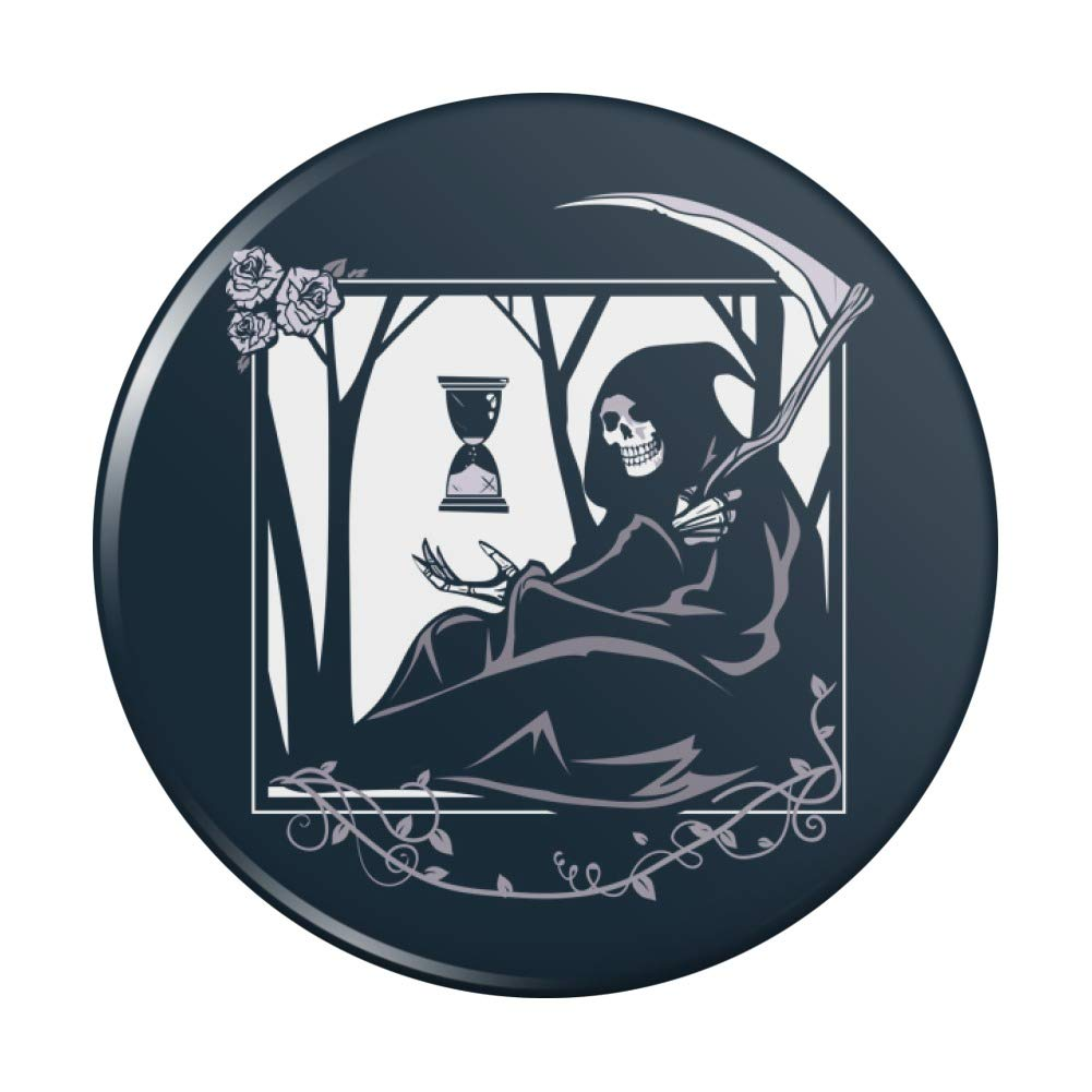 Amazon Com Death Grim Reaper Waiting With Hourglass Compact Pocket Purse Hand Cosmetic Makeup Mirror Beauty