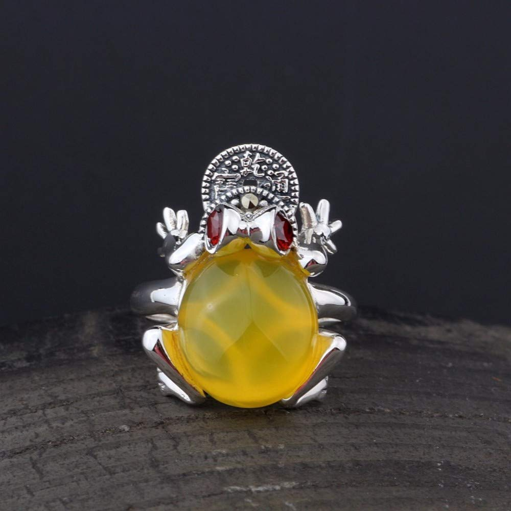 Vintage S925 Silver Ring Womens Simple Opening Frog Chalcedony Yellow Fashion Creative Gift Personality Trend