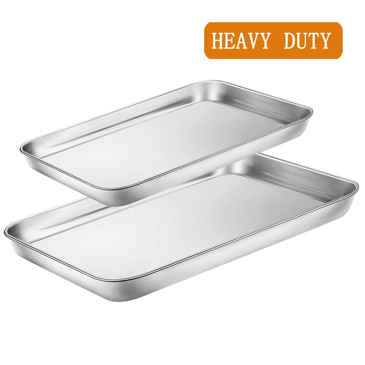 Toaster Oven Tray Pans Set of 2,BYkooc Small Stainless Steel Baking Sheet Pan for Cookie,Non Toxic&Healthy,Easy Clean&Mirror Finish,Dishwasher Safe,one 9 x 7 x 1 inch and one 10 x 8 x 1 inch