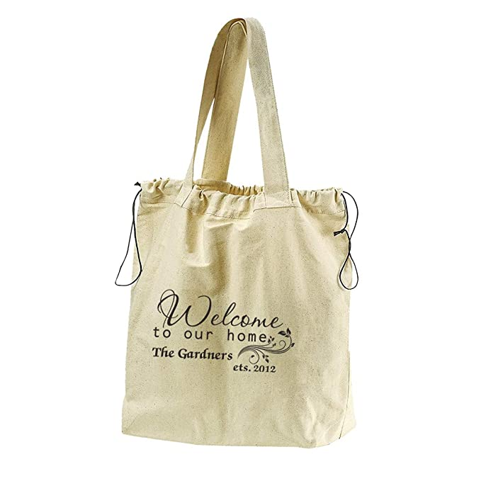 4bc49d12b2f Amazon.com: Personalized Custom our home Family Name Cotton Canvas  Drawstring Beach Tote: Clothing
