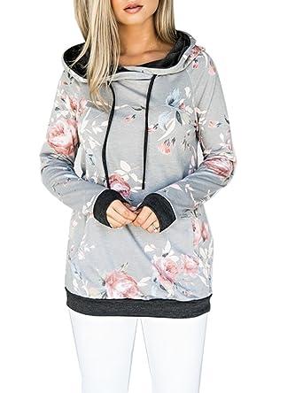 various colors 777a1 cbe67 ASSKDAN Damen Blumen Kapuzenpullover Sport Hoodie Sweatshirts Oversize  Oberteil Pullover