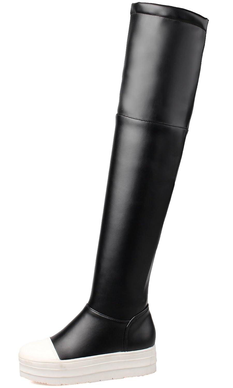 6d3995479f201 BIGTREE Mujeres sobre Botas a la rodilla Plataforma informal negro Otoño  Invierno Cómodo PU cuero largo Botas Negro
