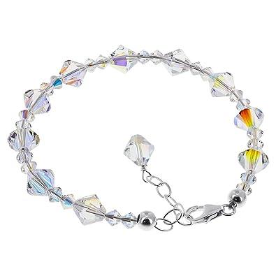 10a7cf2c530 Amazon.com: Gem Avenue Sterling Silver Clear AB Crystal Bracelet 7 ...