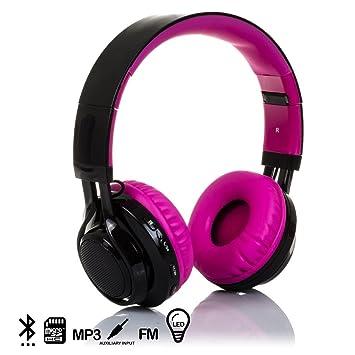 Silica DMX017PINK DMX017PINK - Cascos Bluetooth con Radio incorporada, Lector de Micro SD y Luces