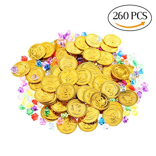 LOKIPA 260pcs Pirate Gold Coins and Pirate Jewelry Pack for Kids Party (Halloween Party Scavenger Hunt Adults)