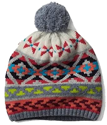 Gap Womens Crazy Fair Isle Pom Pom Merino Wool Blend Winter Hat ...