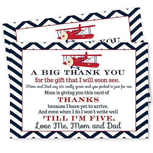 Airplane Baby Shower Thank You Postcard Set of 15 Cards