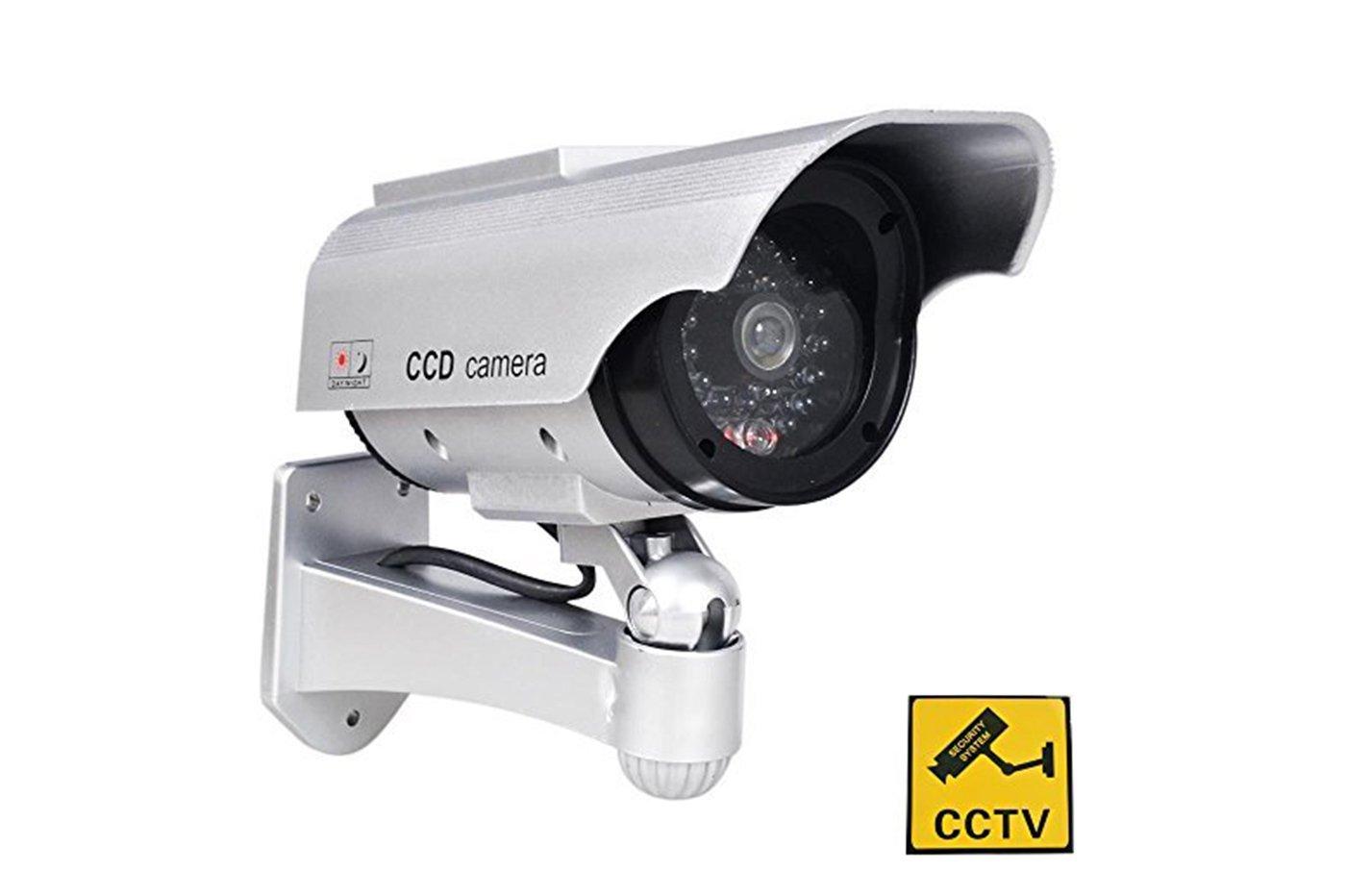 - sin marca/General - Cámara falsa con panel solar cámara vigilancia CCTV LED infrarrojos: Amazon.es: Electrónica