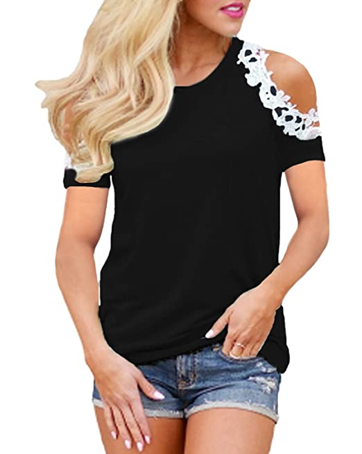 2fce570bf49af StyleDome Sexy Women s Lace Crochet Off Shoulder Tops Short Sleeve T Shirts  Casual Tee Blouses 924720Black