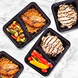 Meal Prep Containers, Plastic 2 compartment Container Lunch Box