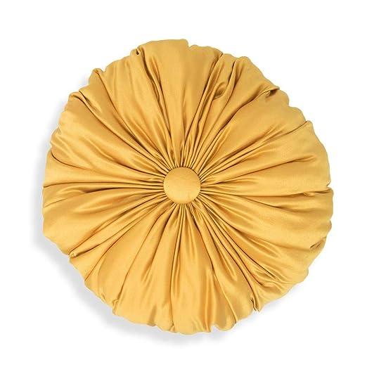 Declea Cojín Redondo Amarillo Ideal para sofá Cama y ...