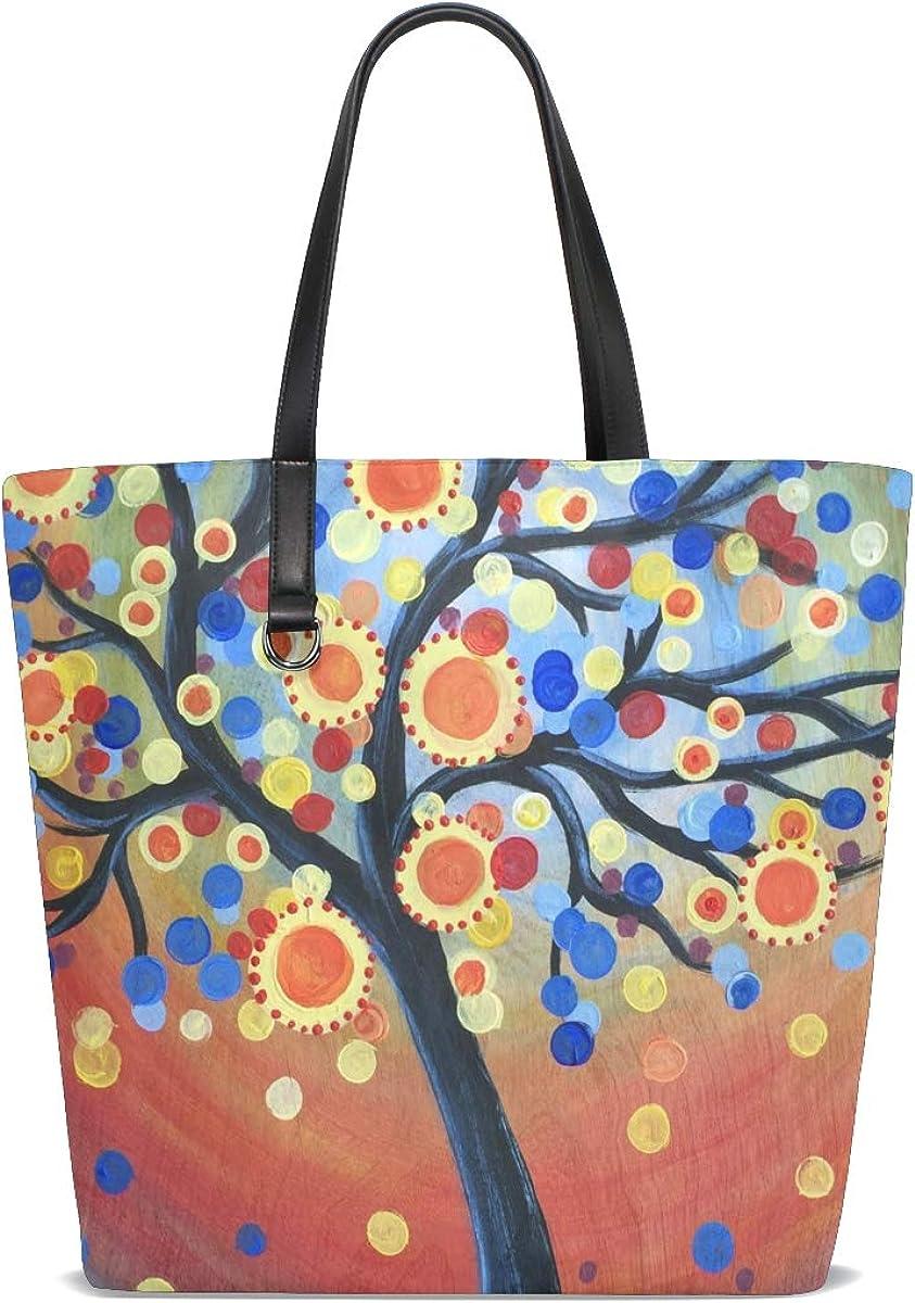 FANTAZIO Tote Shoulder Bag for Women Cartoon Magic Trees Pattern Tote Bag