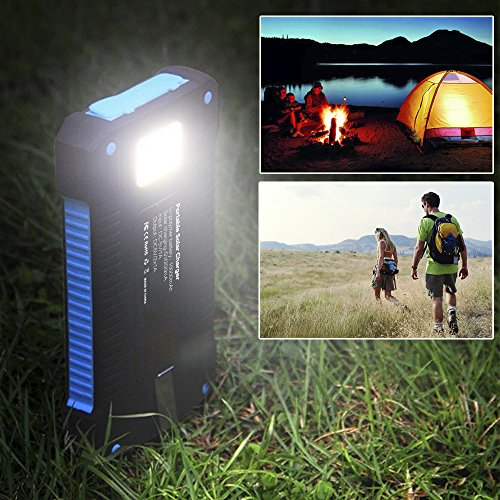 Solar ChargersX DNENG 10000mAh portable Solar vitality Bank significant Efficiency Sunpower Cellphone Chargers Rain reluctant Dirt Shockproof Backup utilizing twin USB Port Solar Battery Charger for USB instruments Solar Chargers