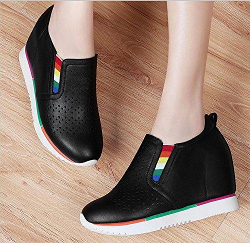KHSKX-El Nuevo Muelle De 8Cm De Espesor Transpirable Zapatos Casuales La Chica Deep-Black Para Aumentar Zapatos De Mujer Y 38 35