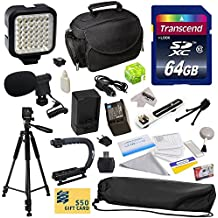 """Advanced Accessory Kit for Canon HF S10 S11 S20 S21 S30 G10 G20 S100 M30 M31 M32 M40 M41 M300 M400 XA10, HF10, HF11, HF20, HF100, HF200, HG20, HG21, HG30, HFS10, HFS11, HFS20, HFS21, HFS30, HFG10, HFG20, HFS100, HFM30, HFM31, HFM32, HFM40, HFM41, HFM300, HFM400 Video Camera Camcorder Includes 64GB High Speed Memory Card + Card Reader + Vivitar 2000 mAh Replacement Battery for Canon BP819 BP-819 + Battery Charger + Deluxe Padded Carrying Case + Professional Photo / Video 60"""" Tripod + Professional"""