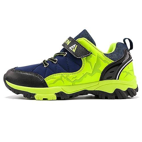 0bab07f5e8 Chicos Senderismo Botas de Invierno Botas de Piel al Aire Libre Niños de Cuero  Impermeable Zapatillas de montaña Niños Calientes Zapatos de Trekking: ...
