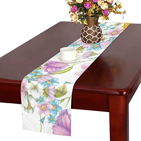 Amazon Com Jiajia Table Runner Beautiful Flora Elegant Flower Dining Table Runners Coffee Table Runner Small 16x72 Inch For Dinner Parties Events Decor Home Kitchen