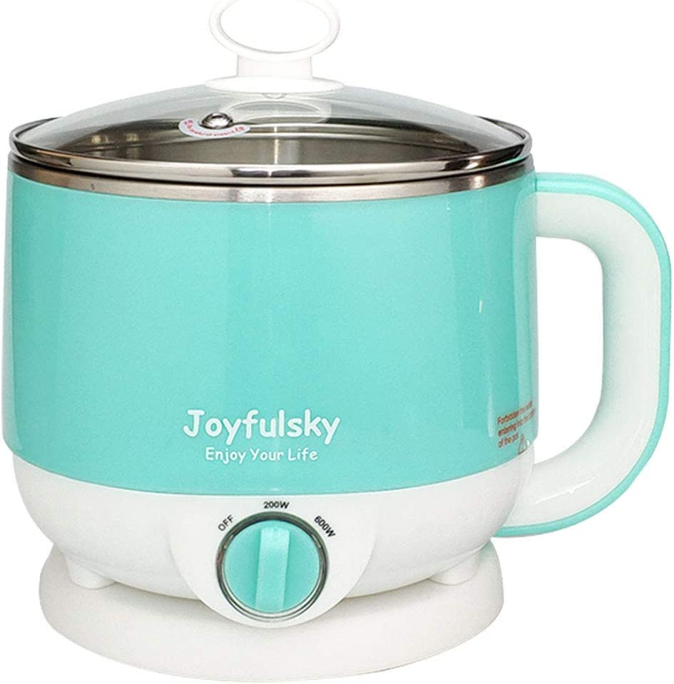 Joyfulsky 1.5L Electric Hot Pot Blue Color 304 Stainless Steel Pot Student Pot Mini Cooker Noodles Cooker Mini Shabu Hot