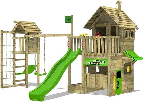 FATMOOSE Parque infantil de madera RebelRacer Super XXL con columpio TowerSwing y tobogán, Casa de juegos de jardin con escalera para niños: Amazon.es: Bricolaje y herramientas