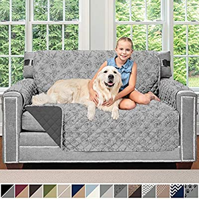 Sofa Shield Original Patent Pending Reversible Loveseat Protector for Seat Width up to 54 Inch, Machine Washable Furniture Slipcover, 2 Inch Strap, Slip Cover Throw for Pets, Dogs, Kids, Love Seat
