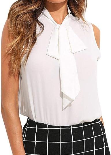 Camisa Mujer Verano Elegante Moda Shirt Sin Mangas con Lazo Bandage Stand Cuello Especial Estilo Oficina Irregular Color Sólido Tops Moda Joven Hipster Blusas Superiores: Amazon.es: Ropa y accesorios