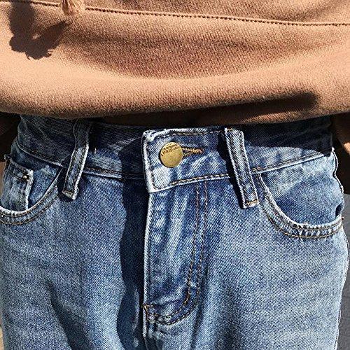 Mezclilla Rectos Estilo Pantalones Sueltos Mujer Cintura Elástico Pantalones Alta Jeans Vaquero WcHWyaFC0