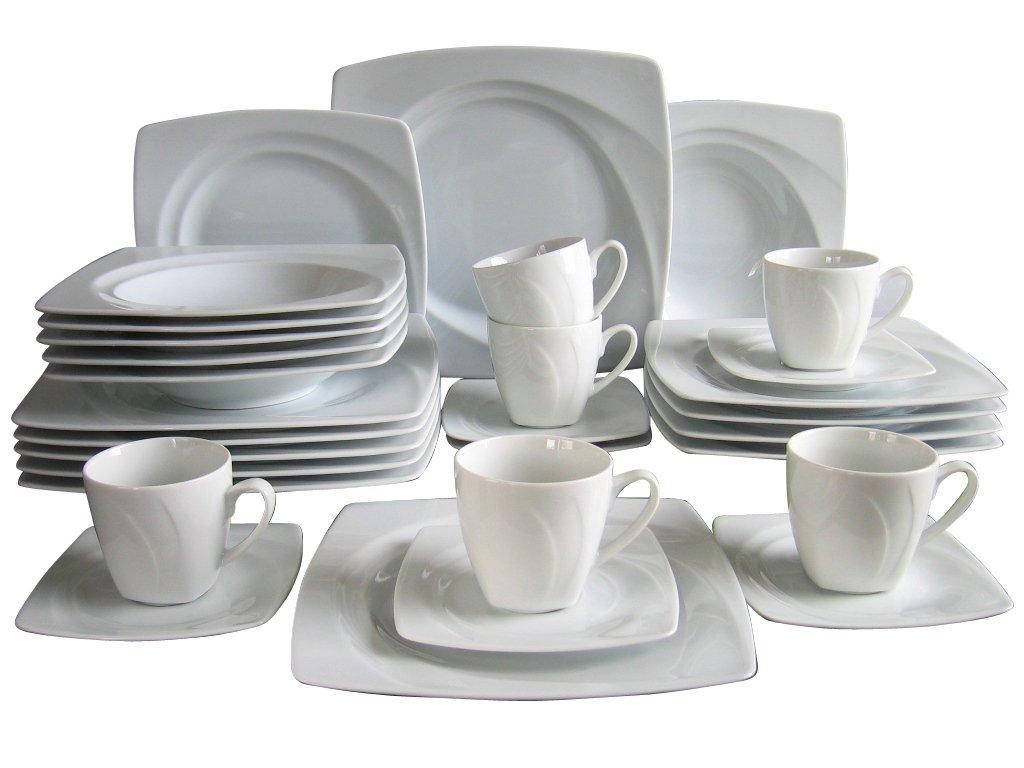 creatable celebration vajilla completa con platos cuadrados piezas color blanco amazones hogar