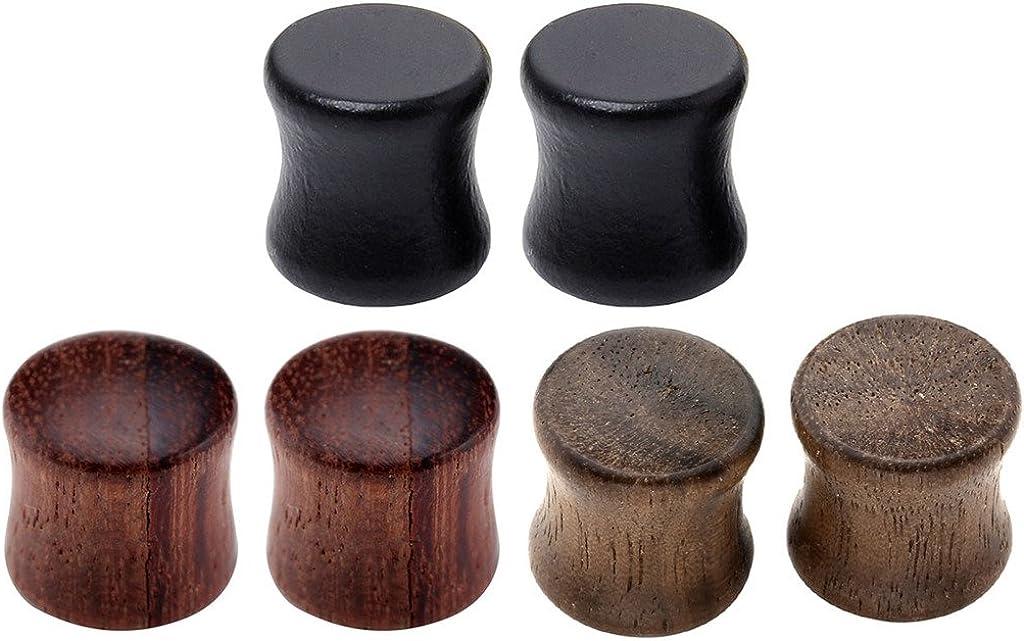 Jovivi 6pcs Organic Wood Brown Black Double Flared Ear Saddle Plugs Stretcher Punk Piercing Gauge 10mm - 20mm