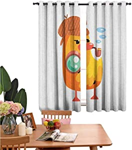 Decor Curtains Private Detective Duckling Character with a Magnifying Glass and Pipe Duck Sherlock,for Home Decoration W55 x L62