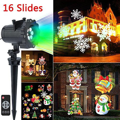 Wonder4 Led Christmas Outdoor Light Projector 2017 Newest Version Led Landscape Spotlight with 16 Slides Dynamic Lighting Led Projector Light for Halloween,Xmas,Party Decoration