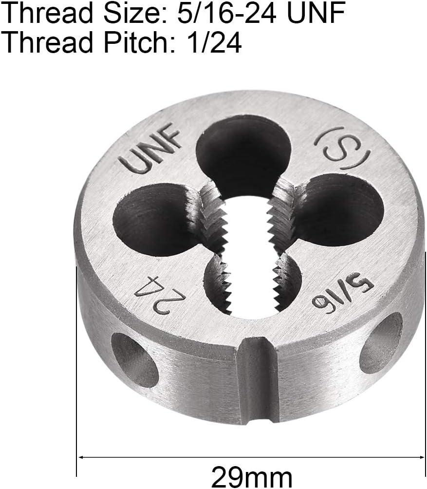 uxcell 2 Pcs 5//16 inches-24 UNF Right Hand Round Die Machine Thread Die Screw Die Tool Threading Die HSS High Speed Steel