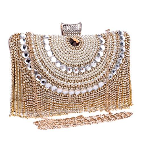 da Sacchetti pochette cristallo inclusa a C donna da Con Borsa catena 6x12x20cm diamante sposa da sera di A con da 2x5x8inch spalla sera qqwdCr4