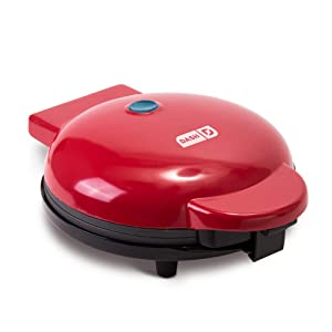 "Dash DEWM8100RD Express 8"" Waffle Maker Machine for Individual Servings, Paninis, Hash browns + other on the go Breakfast, Lunch, or Snacks with Easy Clean, Non-Stick Sides Red"