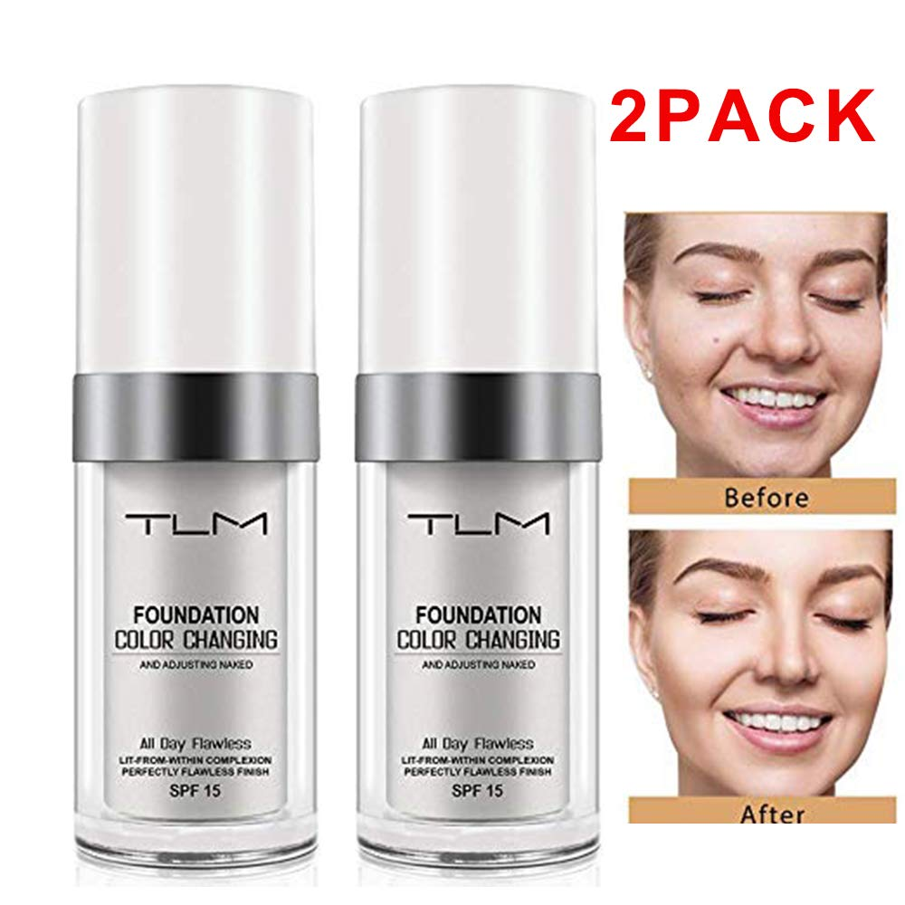 TLM Colour Changing Foundation, Flawless Color Changing Foundation Makeup Base Moisturizing Liquid Foundation for Women Girls SPF15, Sunscreen, Non-greasy, Non-marking, Long lasting(2Pack)