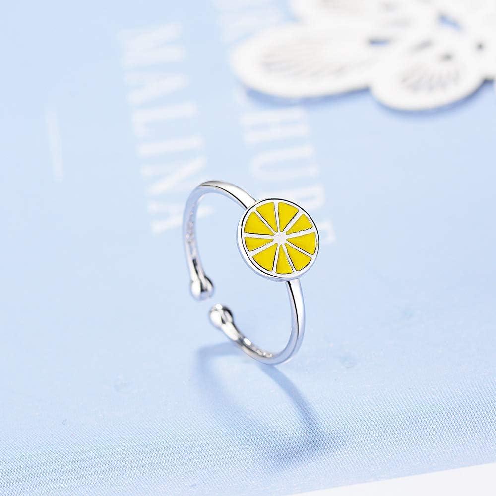 enfants style cr/éatif Bague ouverte en forme de citron en argent 925 pour filles /étudiantes