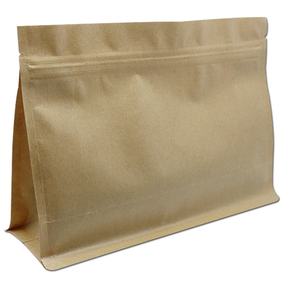 Kraft Paper Reusable Grocery Bags Flat Bottom Doypack with Notch Rectangle Grip Sealing Food Chocolate Gift Wrapping Packaging Paperboard Zipper Tool Bags Organizers (11.8x9.1+3.1 inch, 100 pcs)